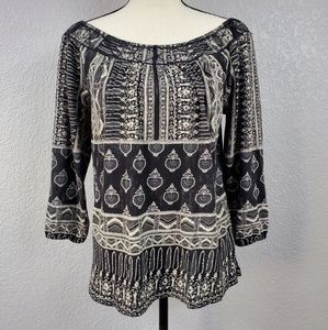 Lucky Brand off shoulder ruched multipattern top